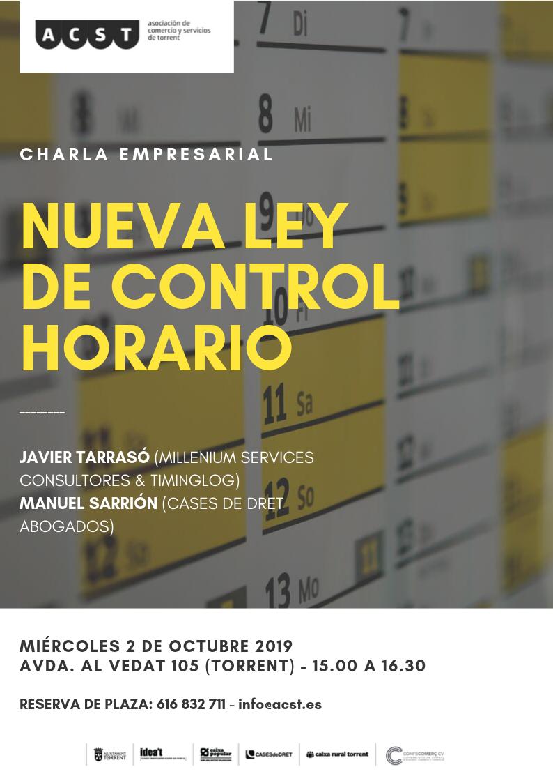 """ACST organiza la Charla Empresarial: """"Nueva ley de Control Horario"""" (02.10.19) !!!"""
