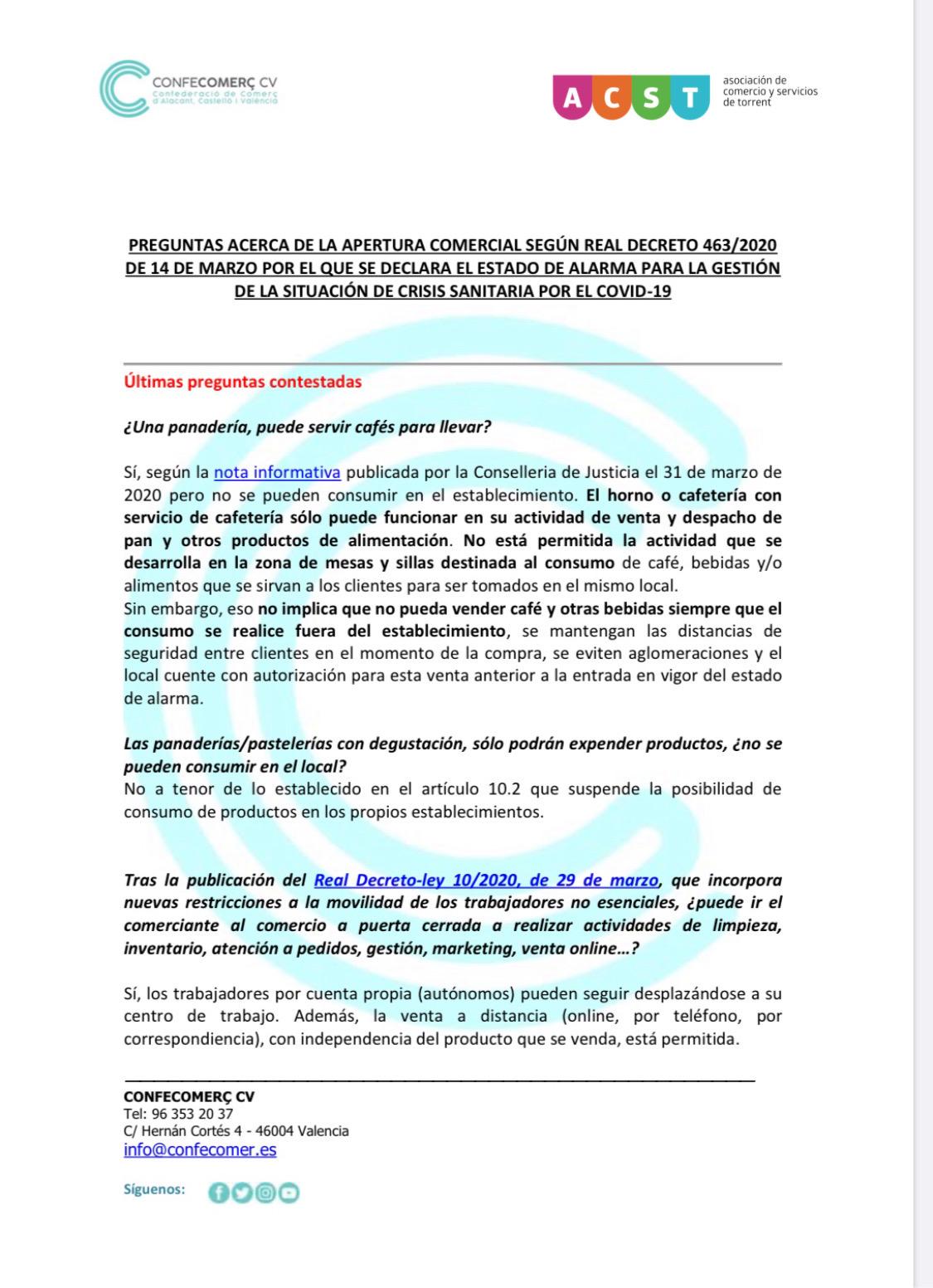 """ACST y CONFECOMERÇ recopilan todas las """"Preguntas y Respuestas"""" respecto al COVID-19 (Documento .PDF) !!"""