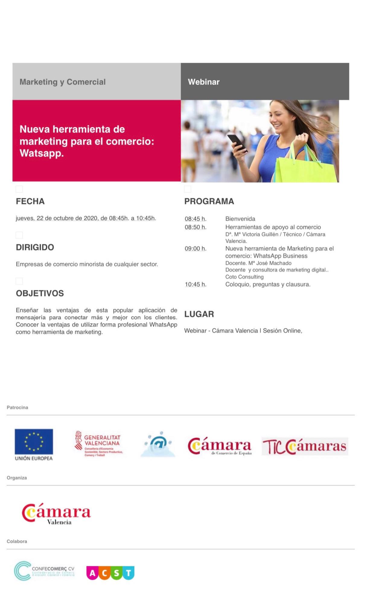 """WEBINAR: """"Nueva Herramienta de Marketing para el Comercio: Whats App"""" (22.10.20) !!"""