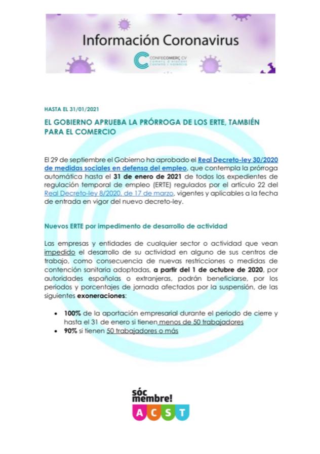 El Gobierno aprueba la Prórroga de los ERTE también para el Comercio !!